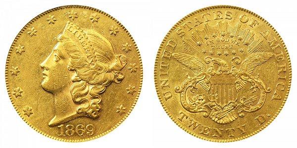 1869 Liberty Head $20 Gold Double Eagle - Twenty Dollars