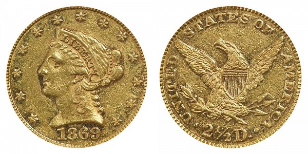 1869 Liberty Head $2.50 Gold Quarter Eagle - 2 1/2 Dollars