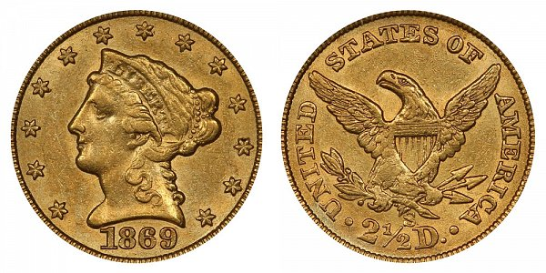 1869 S Liberty Head $2.50 Gold Quarter Eagle - 2 1/2 Dollars