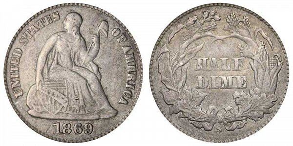1869 S Seated Liberty Half Dime