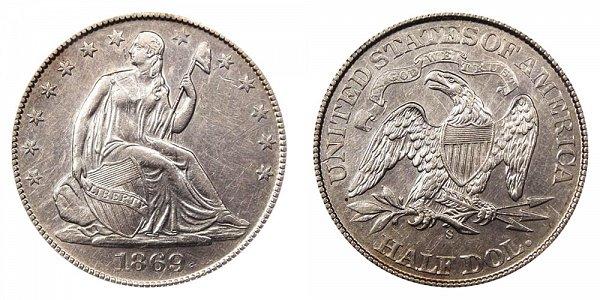 1869 S Seated Liberty Half Dollar