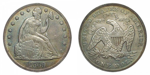 1869 Seated Liberty Silver Dollar
