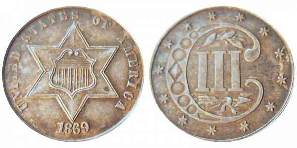 1869 Silver Three Cent Piece Trime