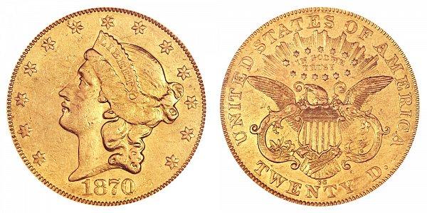 1870 CC Liberty Head $20 Gold Double Eagle - Twenty Dollars