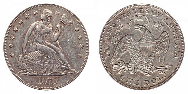 1870 CC Seated Liberty Silver Dollar
