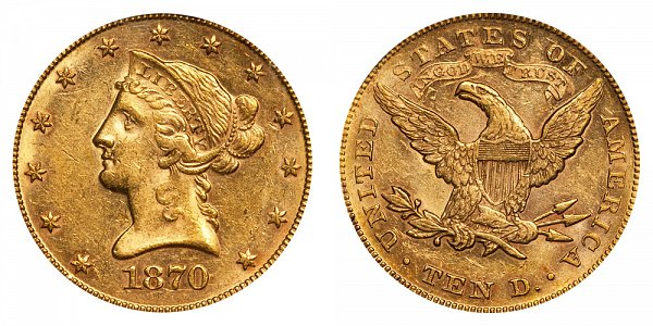 1870 Liberty Head $10 Gold Eagle - Ten Dollars