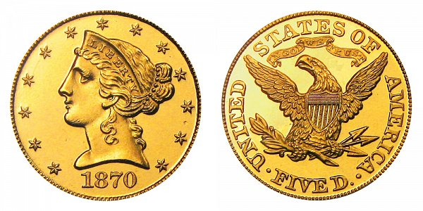 1870 Liberty Head $5 Gold Half Eagle - Five Dollars