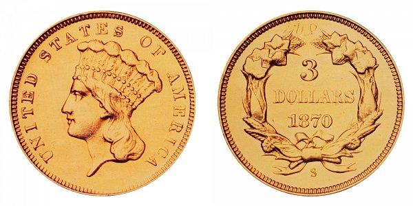 1870 S Indian Princess Head $3 Gold Dollars - Three Dollars