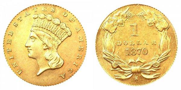 1870 S Large Indian Princess Head Gold Dollar G$1