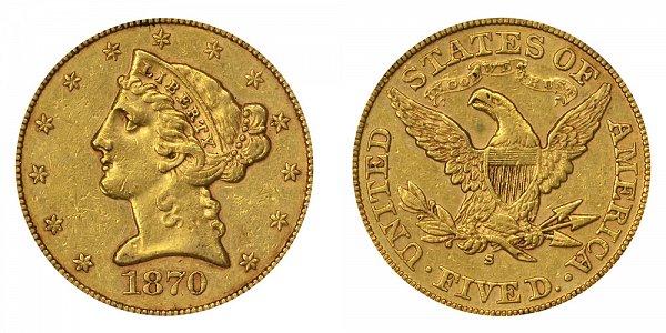 1870 S Liberty Head $5 Gold Half Eagle - Five Dollars
