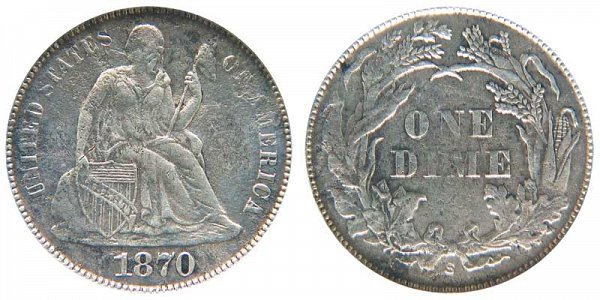 1870 S Seated Liberty Dime