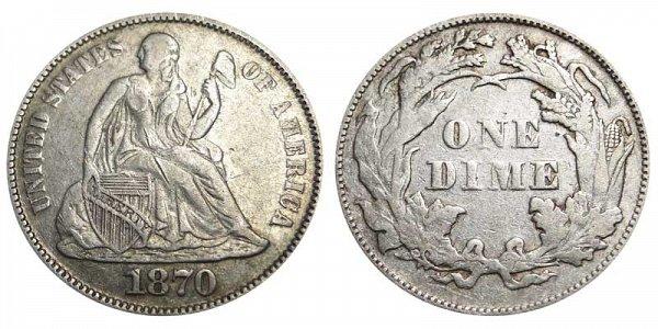 1870 Seated Liberty Dime