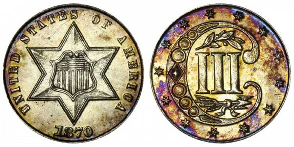 1870 Silver Three Cent Piece Trime