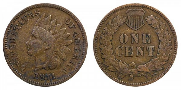 1871 Bold N Indian Head Cent Penny