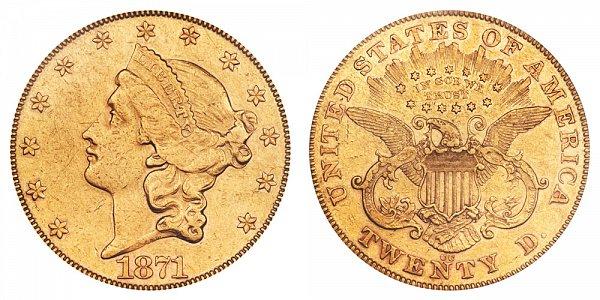 1871 CC Liberty Head $20 Gold Double Eagle - Twenty Dollars