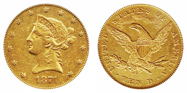 1871 CC Liberty Head $10 Gold Eagle - Ten Dollars