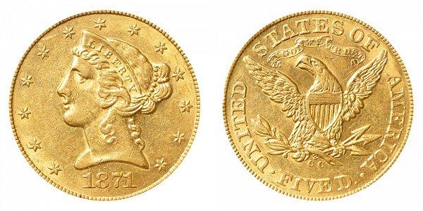 1871 CC Liberty Head $5 Gold Half Eagle - Five Dollars
