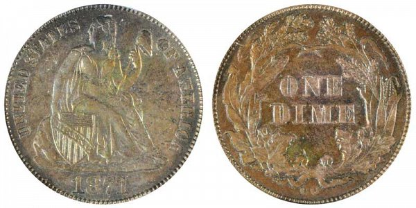 1871 CC Seated Liberty Dime