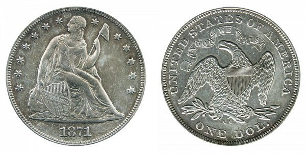 1871 CC Seated Liberty Silver Dollar