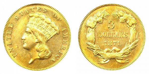 1871 Indian Princess Head $3 Gold Dollars - Three Dollars