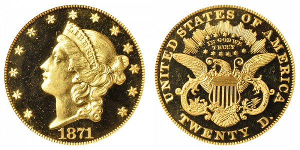 1871 Liberty Head $20 Gold Double Eagle - Twenty Dollars