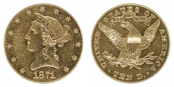 1871 Liberty Head $10 Gold Eagle - Ten Dollars