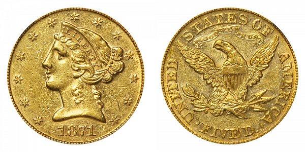 1871 Liberty Head $5 Gold Half Eagle - Five Dollars