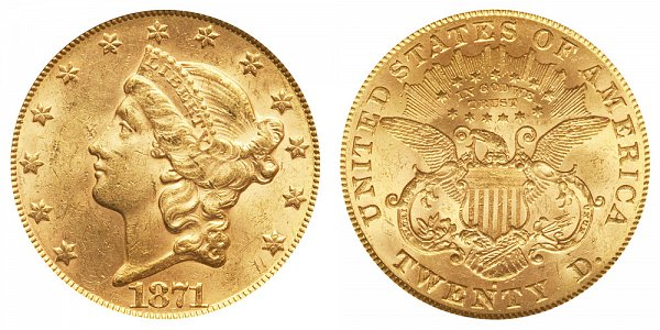 1871 S Liberty Head $20 Gold Double Eagle - Twenty Dollars