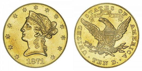 1871 S Liberty Head $10 Gold Eagle - Ten Dollars