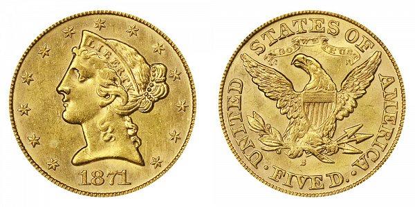 1871 S Liberty Head $5 Gold Half Eagle - Five Dollars