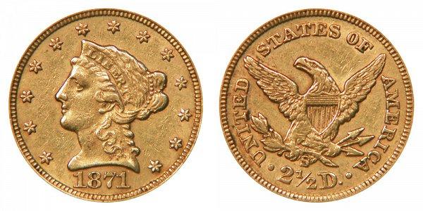 1871 S Liberty Head $2.50 Gold Quarter Eagle - 2 1/2 Dollars