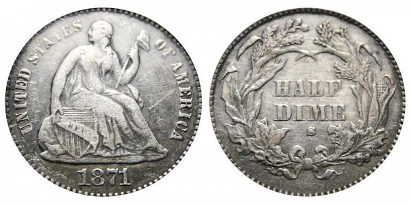 1871 S Seated Liberty Half Dime