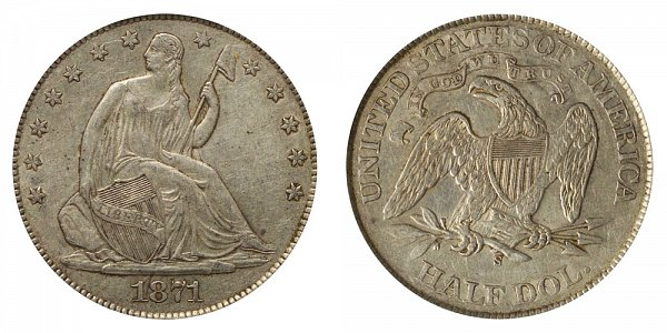 1871 S Seated Liberty Half Dollar