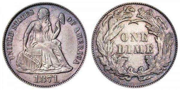 1871 Seated Liberty Dime