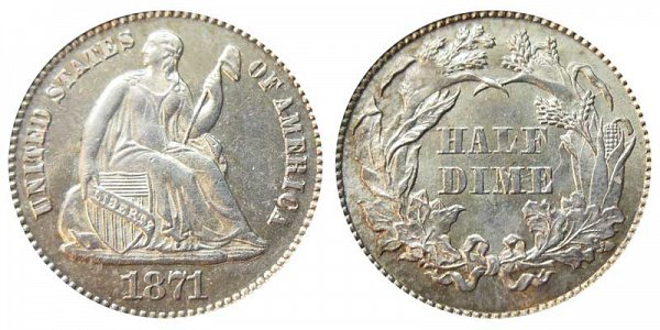1871 Seated Liberty Half Dime