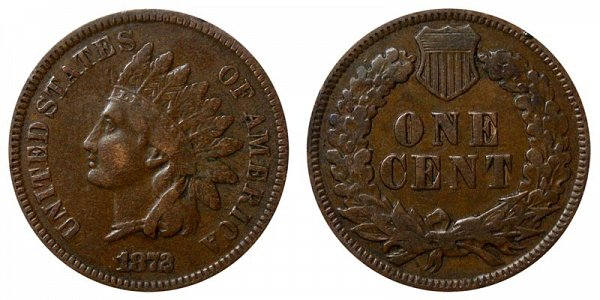 1872 Bold N Indian Head Cent Penny