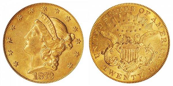 1872 CC Liberty Head $20 Gold Double Eagle - Twenty Dollars