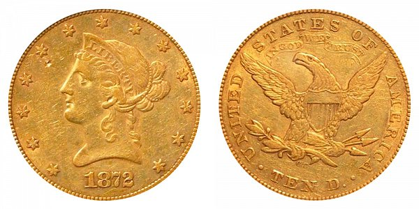 1872 CC Liberty Head $10 Gold Eagle - Ten Dollars