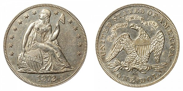 1872 CC Seated Liberty Silver Dollar