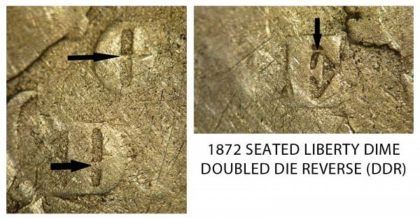 1872 Doubled Die Reverse (DDR) Seated Liberty Dime