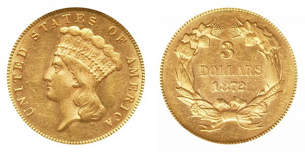 1872 Indian Princess Head $3 Gold Dollars - Three Dollars