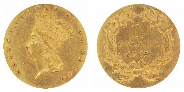 1872 Large Indian Princess Head Gold Dollar G$1