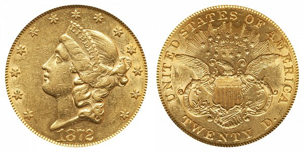 1872 Liberty Head $20 Gold Double Eagle - Twenty Dollars