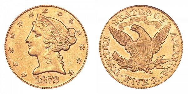 1872 Liberty Head $5 Gold Half Eagle - Five Dollars