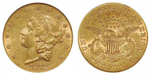1872 S Liberty Head $20 Gold Double Eagle - Twenty Dollars