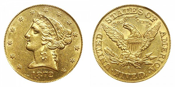 1872 S Liberty Head $5 Gold Half Eagle - Five Dollars