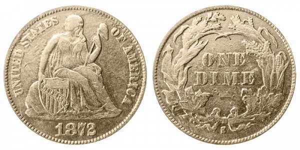 1872 S Seated Liberty Dime