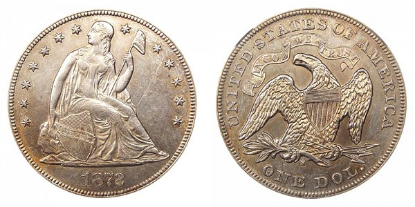 1872 S Seated Liberty Silver Dollar