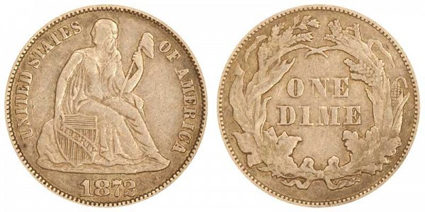 1872 Seated Liberty Dime