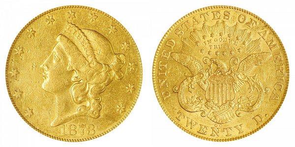 1873 CC Liberty Head $20 Gold Double Eagle - Twenty Dollars